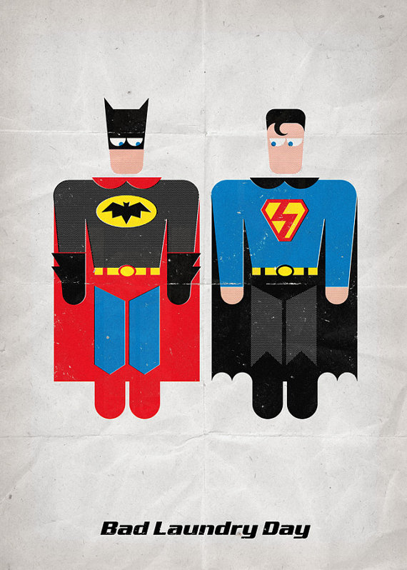 Superman batman bad laundry day dagens poster - Superman interior designs ...