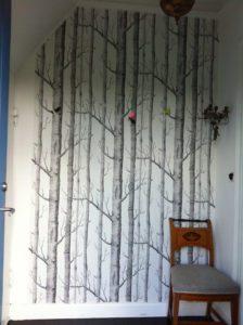 tapet-gang-grafisk-birketraeer-sort-hvid-gang-entre-hallway-bolig-indretning-interior-wallpaper-homedecor