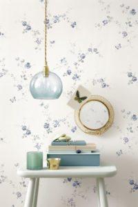 tapet-vintage-nostalgi-blaa-kartell-stilleben-wallpaper-indretning-bolig