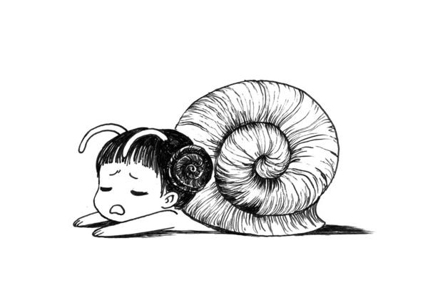 snailgirl-poster-plakat-illustration-kunst-art-print-boernevaerelset