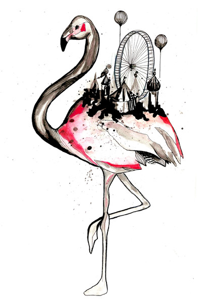 flamingo-maria-permin-berger-kunst-illustration-kunst-art-artwork-drawing