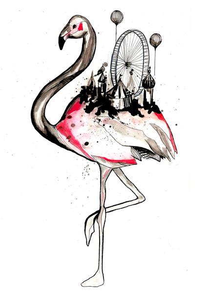 flamingo-maria-permin-berger-kunst-illustration-kunst-art-artwork-drawing