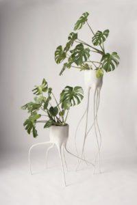 Monstera urtepotter på trådtynde ben