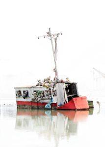 Teddies in boat