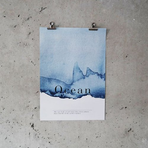 Ocean - akvarel