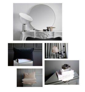En collage med billeder af lækkert interiør og kunsobjekter fra det svenske design brand Apartment stories. Her ses velourpuder, spejle og brevvægte af bjergkrystaller