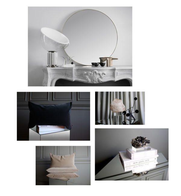 En collage med billeder af lækkert interiør design objekter fra det svenske design brand Apartment stories. Her ses velourpuder, spejle og brevvægte af bjergkrystaller