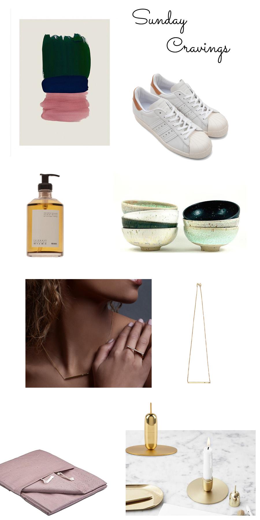 Billede består af forskellige produkter som eksempel moodboard cravings