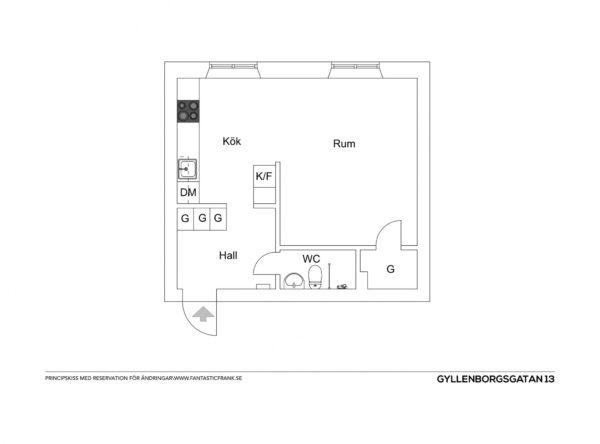 plantegning af et-værelses lejlighed