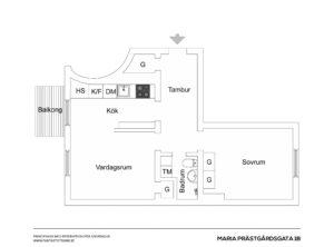 plantegning af lille 1-værelses lejlighed