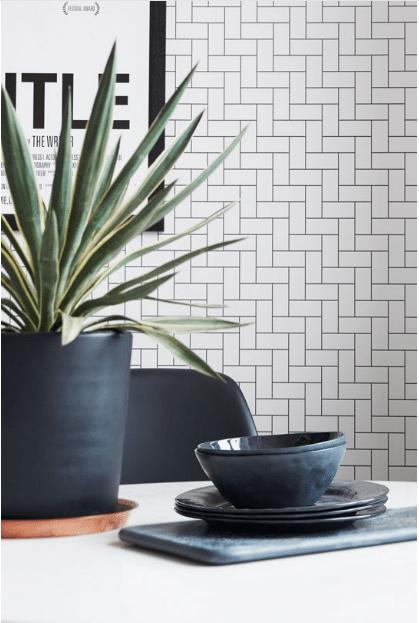 Nærbillede af en plante i sort potte på en spisebord. I baggrunden ses et sort hvidt flisetapet