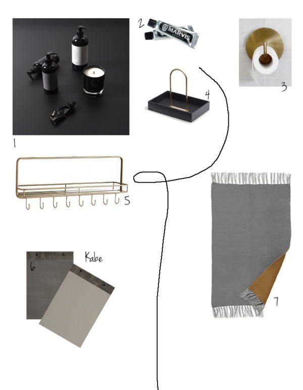 Inspiraions collage med lækre produkter til badeværelset