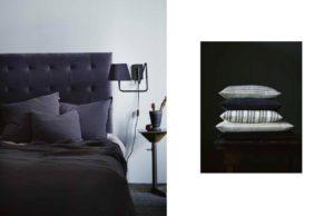 Smuk seng med mørk velour sengegavl