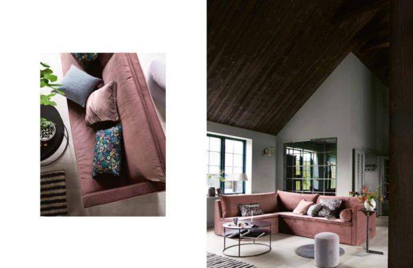 Stue med søvet pudderfarvet veloursofa fra Tine K Home