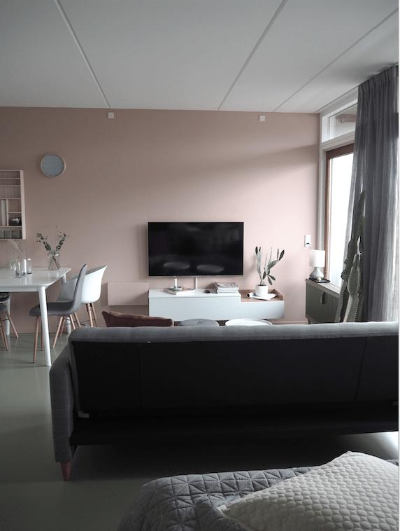 Stue med lyserøde væggen og sovesofa fra JYSK, meget fint