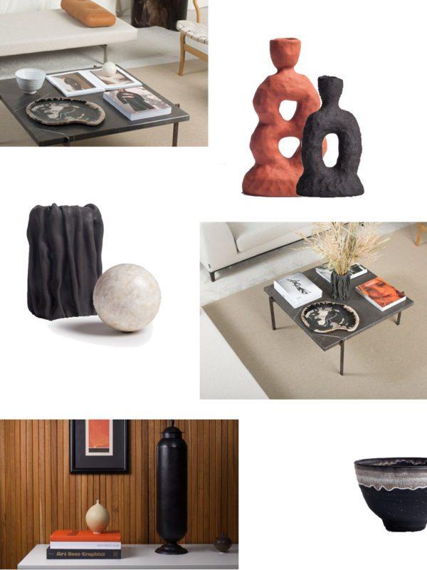 Moodboard af forskellige kunstobjekter fra butikken Odem Atelier