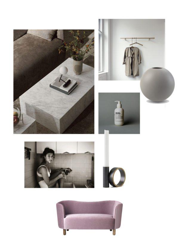 moodboard med interiør ønsker. Her ses et solidt marmorsofabord, fotokunst, lysestage rund grå vase, knagerække og lille 2 personers sofa.