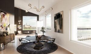 Nice livingroom witt nice view over the sea and Kronborg Castle in Denmark